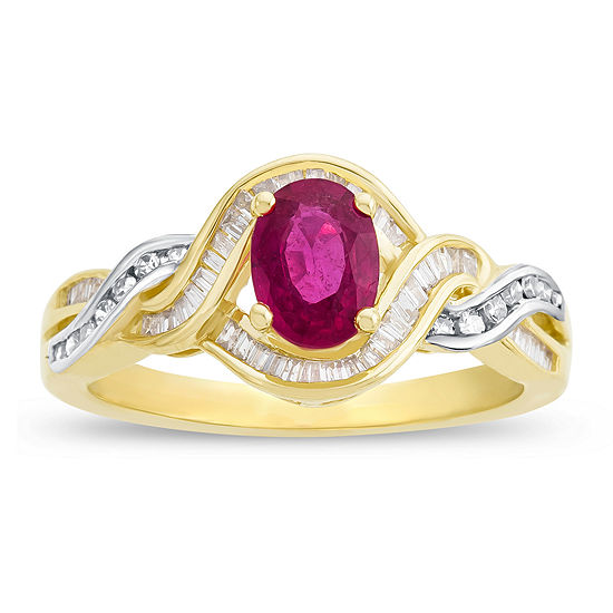 Glass Filled Ruby 1 3 Ct Tw Diamond 14k Yellow Gold Ring