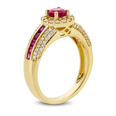 Womens Lead Glass Filled Red Ruby Cocktail Ring in 14K Gold