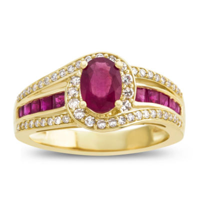 Womens 1/3 CT. T.W. Diamond and Red Lead Glass-Filled Ruby Ring in 10K Gold