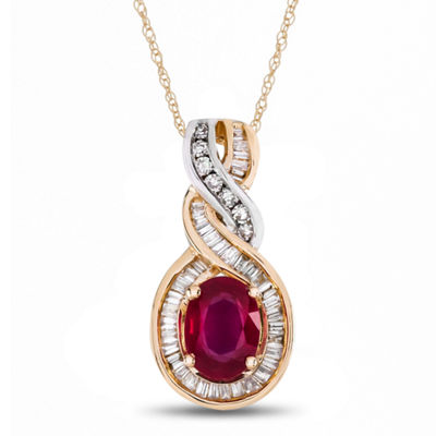 Womens Lead-glass Filled Ruby & 1/4 CT. T.W. Diamonds 14K Two Tone Gold Pendant Necklace