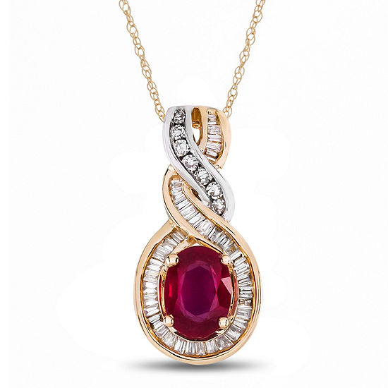 Womens Lead Glass Filled Ruby 1 4 Ct Tw Diamonds 14k Two Tone Gold Pendant Necklace