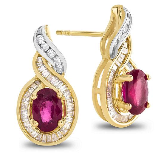 1/3 CT. T.W. & Lead-glass Filled Ruby 14K Two Tone Gold Drop Earrings