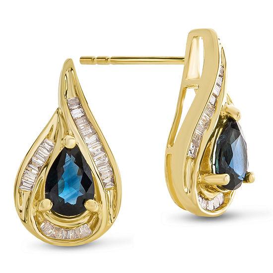 1/5 CT. T.W. Genuine Blue Sapphire 14K Gold Drop Earrings