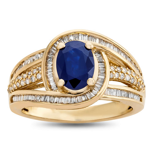 Womens 1/2 CT. T.W. Genuine Blue Sapphire 14K Gold Cocktail Ring