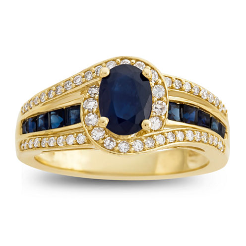Genuine Blue Sapphire & 1/3  C.T. T.W. Diamond 10K Yellow Gold Ring