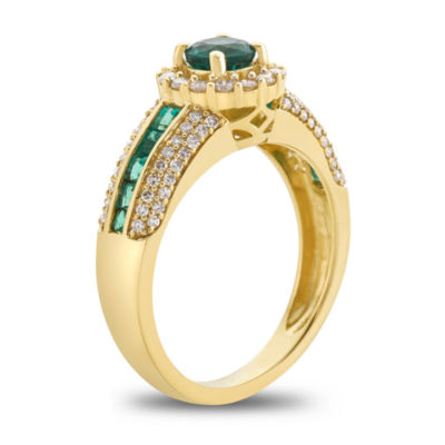 Womens 1/2 CT. T.W. Genuine Green Emerald 14K Gold Cocktail Ring