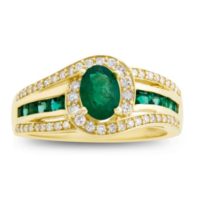 Genuine Emerald & 1/3  C.T. T.W. Diamond 10K Yellow Gold Ring
