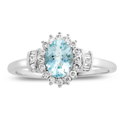Womens Genuine Aquamarine & 1/4 CT. T.W. Diamond 10K Gold Cocktail Ring