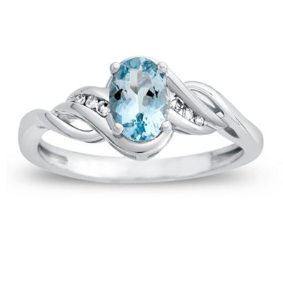 Womens Diamond Accent Blue Aquamarine 10K Gold Cocktail Ring