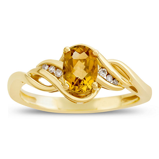 Womens Diamond Accent Genuine Yellow Citrine 10K Gold Delicate Cocktail Ring