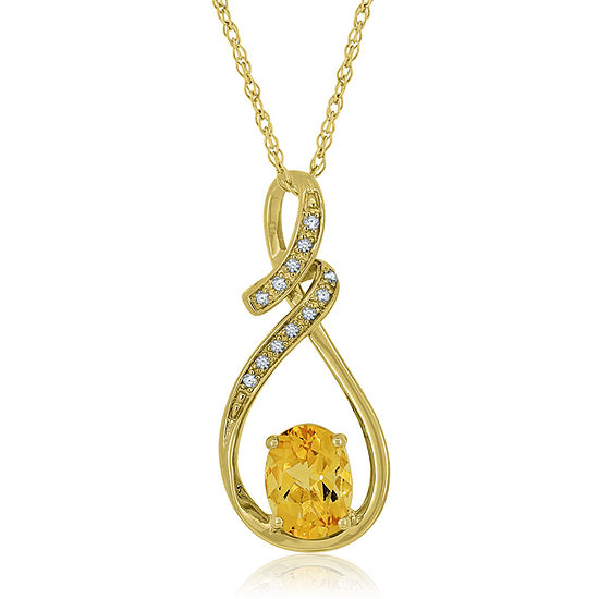 Genuine Citrine Lab Created White Sapphire 14k Gold Over Silver Pendant Necklace