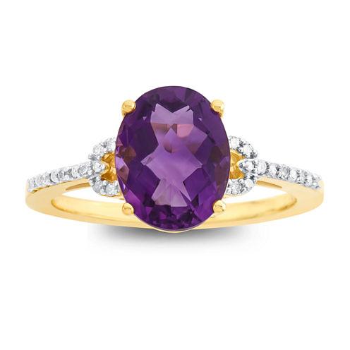 Womens Genuine Purple Amethyst 10K Cocktail Ring