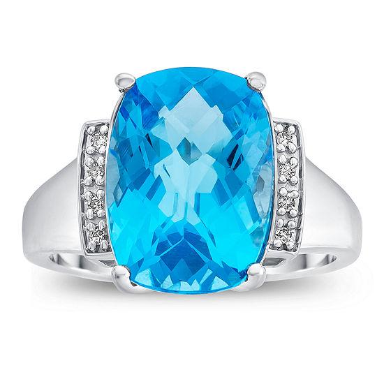 Womens Diamond Accent Genuine Blue Topaz 10K Gold Cocktail Ring