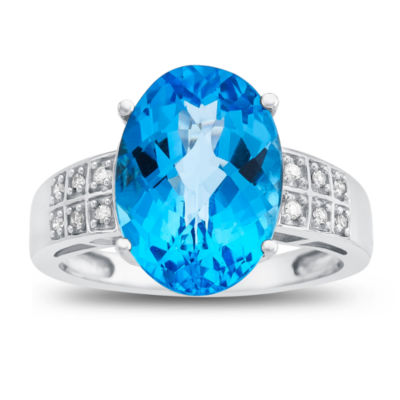 Womens Diamond Accent Blue Blue Topaz 10K Gold Cocktail Ring