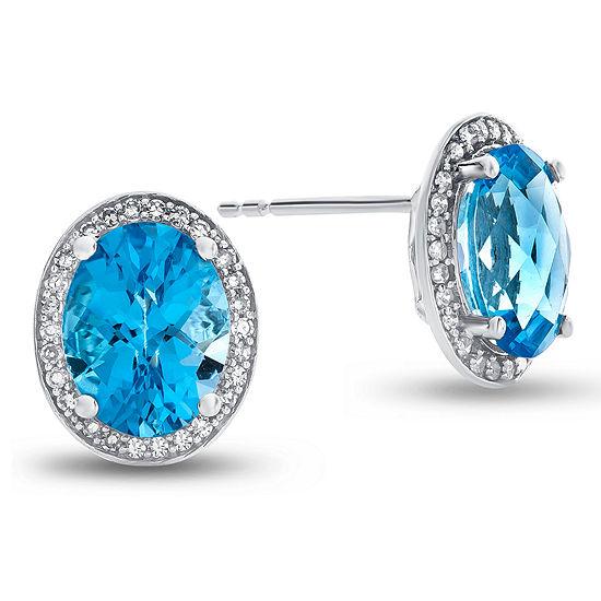 1/5 CT. T.W. Genuine Blue Topaz 10K Gold 9.5mm Stud Earrings