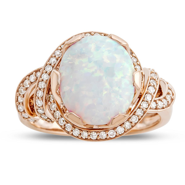 Fine Jewelry Womens 1/6 CT. T.W. Multi Color Opal 10K Gold Cocktail Ring WSzXS