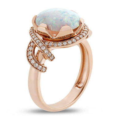 Womens 1/4 CT. T.W. Lab Created Multi Color Opal 10K Gold Cocktail Ring
