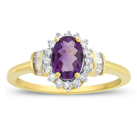 Womens 1/4 CT. T.W. Genuine Purple Amethyst 10K Gold Cocktail Ring
