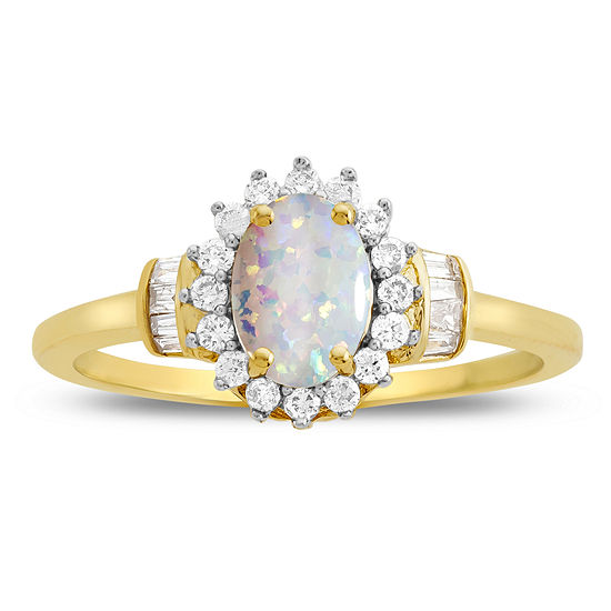 Lab Created Opal & 1/4 C.T. T.W. Diamond 10K Yellow Gold Ring