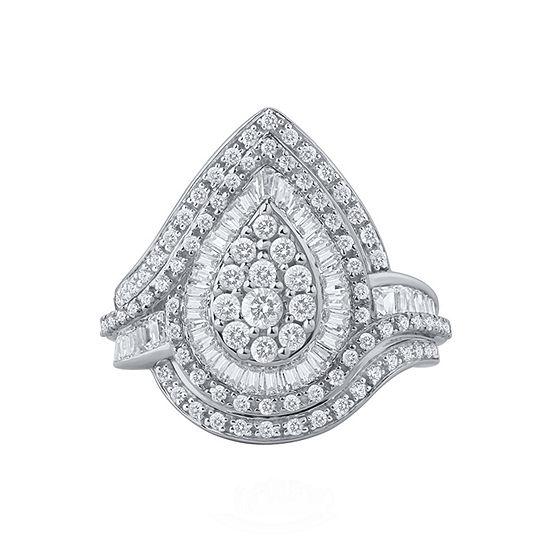 Womens 1 1/4 CT. T.W. Genuine White Diamond 10K Gold Cocktail Ring