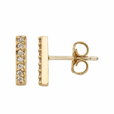 1/10 CT. T.W. Genuine White Diamond 14K Gold Over Silver 9.5mm Stud Earrings