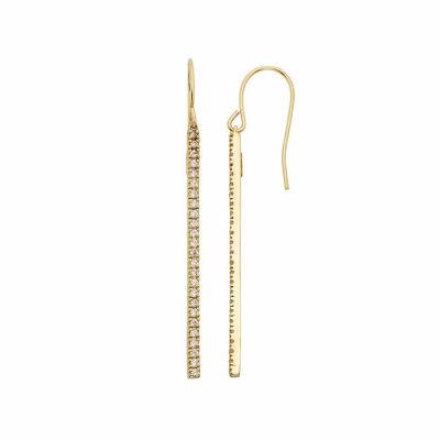 1/2 CT. T.W. Genuine White Diamond 14K Gold Over Silver Drop Earrings
