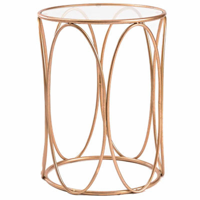 Glass Top Chairside Table