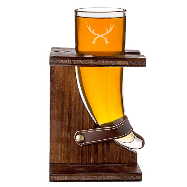 Cathy's Concepts 16oz Antler Viking Beer Horn with Stand