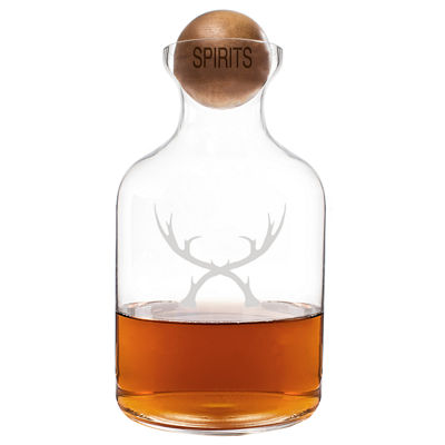 Cathy's Concepts Glass Antler 56oz Whiskey Decanter