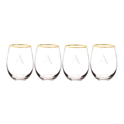 Cathy's Concepts Gold Rim 4-pc. Wine Glass