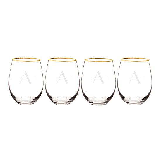 Cathys Concepts Gold Rim 4 Pc Wine Glass