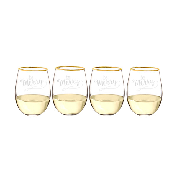 Cathy's Concepts Be Merry Gold Rim 4-pc. Stemless Wine Glass