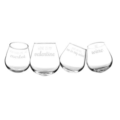 Cathy's Concepts Tipsy Valentine 4-pc. Stemless Wine Glass