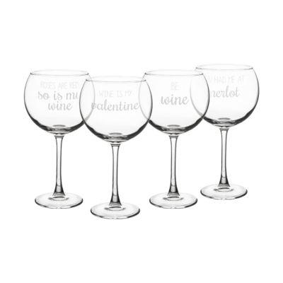 Cathy's Concepts Valentine'S 4-pc. Wine Glass