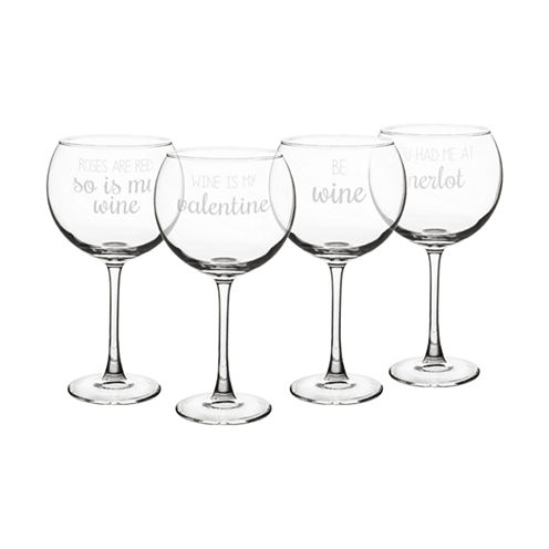 Cathy's Concepts Valentine'S 4-pc. Wine Glass