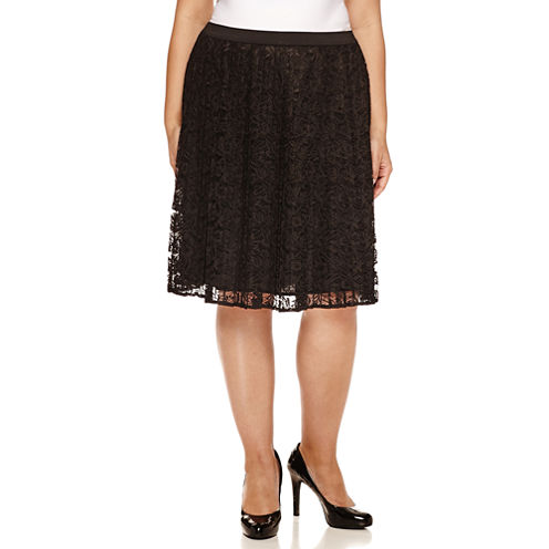 Liz Claiborne Woven Pleated Skirt Plus