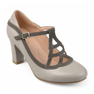 Journee Collection Nile Womens Pumps Buckle Round Toe Block Heel