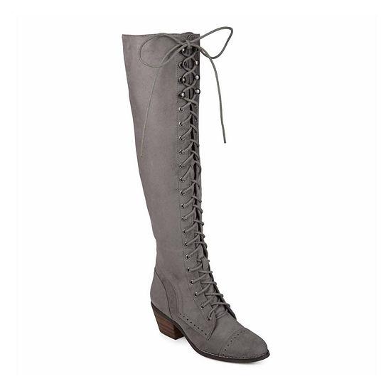Journee Collection Womens Bazel Over the Knee Boots Block Heel Zip