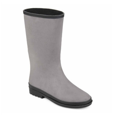 Journee Collection Womens Zazil Rain Boots Waterproof Block Heel Pull-on