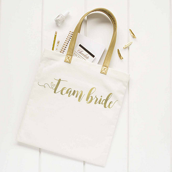 Cathy's Concepts Gold Foil Team Bride Canvas Tote
