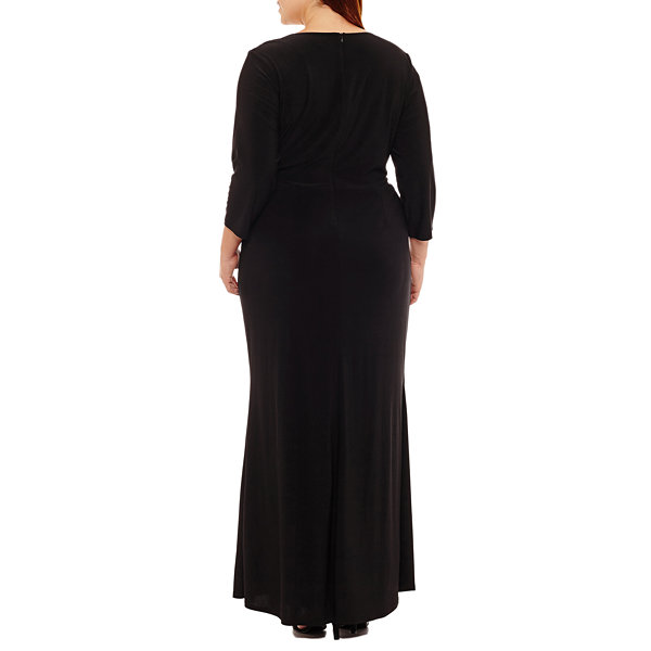 Blu Sage 3/4 Sleeve Evening Gown - Plus