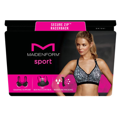 Maidenform Motion Control Secure Front Zip Underwire Racerback Sports Bra-DM7991