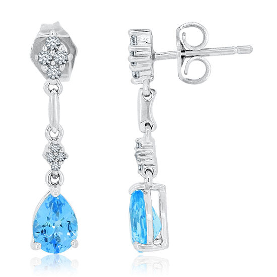 Genuine Blue Topaz & Lab-Created White Sapphire Sterling Silver Drop Earrings