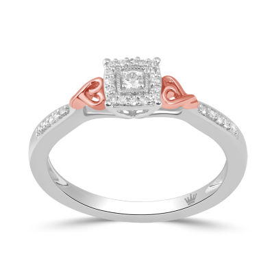 Hallmark Diamonds Womens 1/10 CT. T.W. Genuine White Diamond 14K Rose Gold Over Silver & Sterling Silver Heart Ring