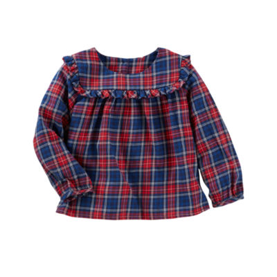 Oshkosh Long Sleeve Plaid Top - Baby Girls