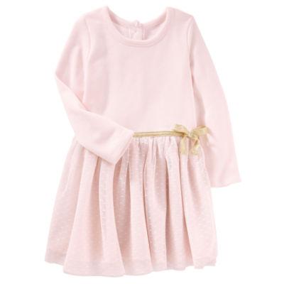 Oshkosh Long Sleeve A-Line Dress - Baby Girls