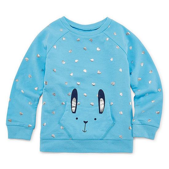 Okie Dokie Toddler Girls Crew Neck Long Sleeve Sweatshirt