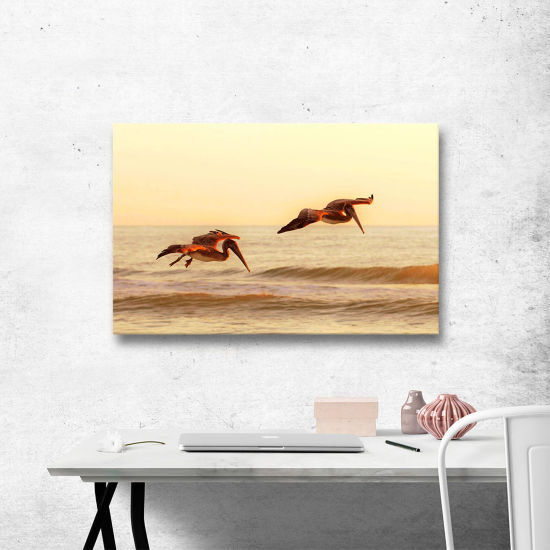 Brushstone Pelicans At Sunset Gallery Wrapped Canvas Wall Art