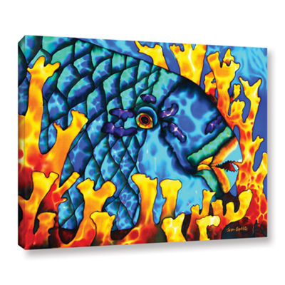 Brushstone Parrotfish In Fire Coral Gallery Wrapped Canvas Wall Art
