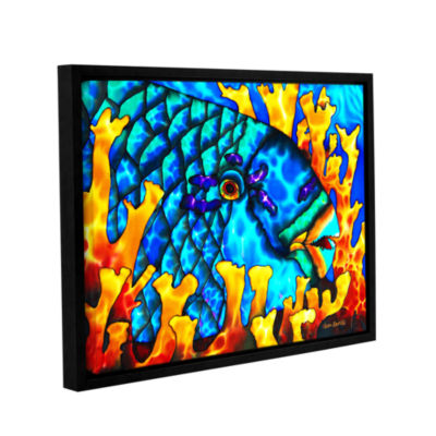 Brushstone Parrotfish In Fire Coral Gallery Wrapped Floater-Framed Canvas Wall Art